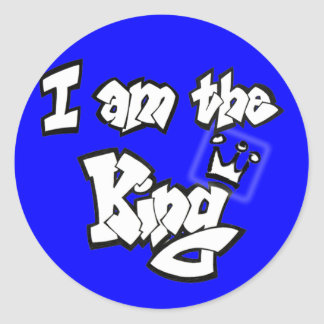 "Graffiti Style ""I am the King"" with crown Classic Round Sticker"