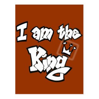 "Graffiti Style ""I am the King"" with crown Postcard"