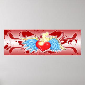 Graffiti Style Sacred Heart Poster
