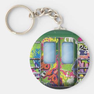 Graffiti Subway Train Green Keychain