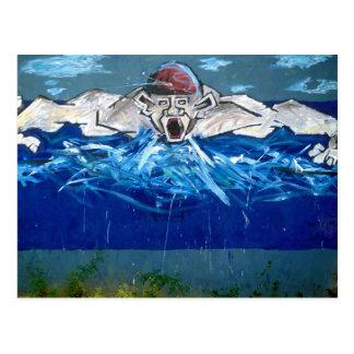 Graffiti : the swimmer - postcard