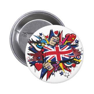 Graffiti the U.K. flag English London pop art graf Pins