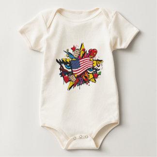 Graffiti the USA pop flag art Baby Bodysuit