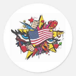 Graffiti the USA pop flag art Classic Round Sticker