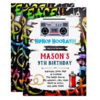 Graffiti theme birthday card invitation