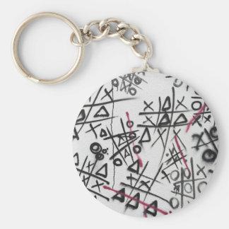 Graffiti Tic Tac Toe Basic Round Button Keychain