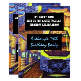 Graffiti Trains Birthday Invitation