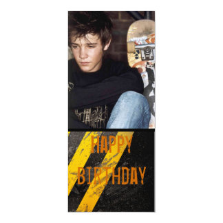 "graffiti urban teen boy photo invite 4"" x 9.25"" invitation card"