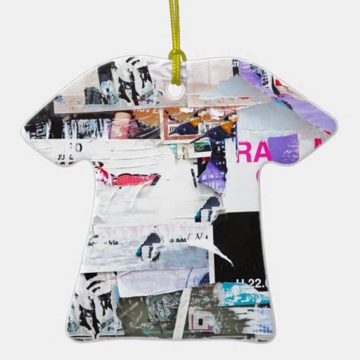 Graffiti Wall Banksy Style Torn Paper Double-Sided T-Shirt Ceramic Christmas Ornament