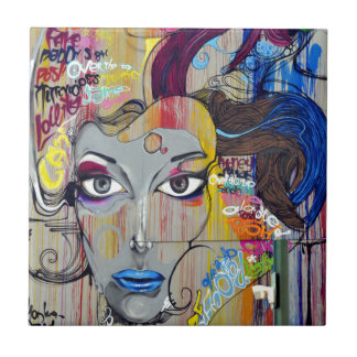 Graffiti Woman Ceramic Tile