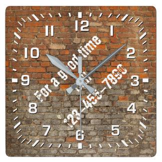 Graffiti Worn Bricks Personalize Square Wall Clock