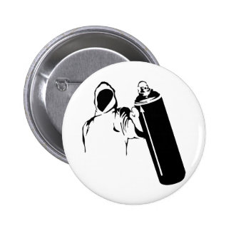 Graffiti writer with spray can stencil 2 inch round button