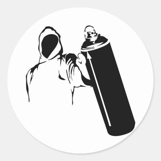 Graffiti writer with spray can stencil classic round sticker