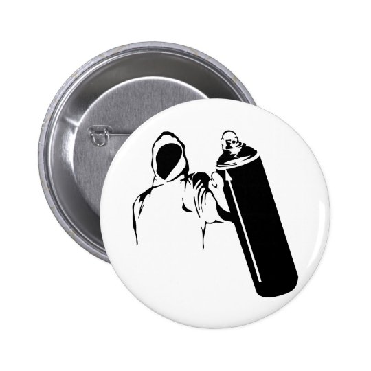 Graffiti writer with spray can stencil pinback button