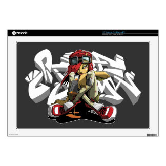 "Graffiti writer with Style background Skin For 17"" Laptop"