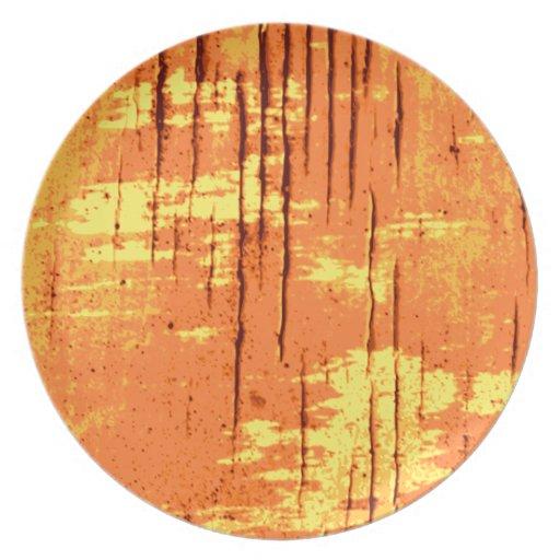 Gráfico abstracto anaranjado con las líneas oscura plato