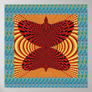 Gráfico abstracto artístico del espiral del oro de póster