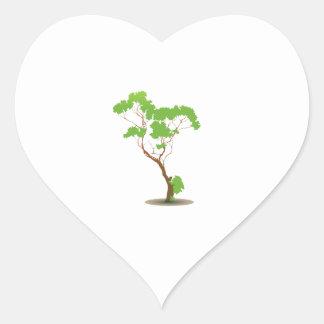 Gráfico abstracto del roble solo pegatina en forma de corazón