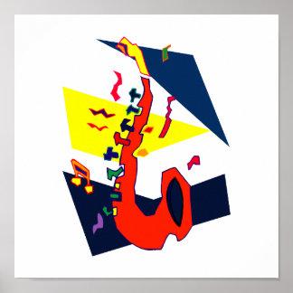 Gráfico amarillo-naranja azul abstracto del saxofó poster