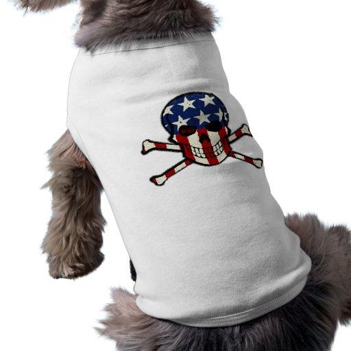 Gráfico americana de la bandera del cráneo del playera sin mangas para perro