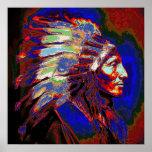 Gráfico americano del jefe indio póster