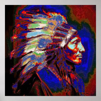 Gráfico americano del jefe indio posters