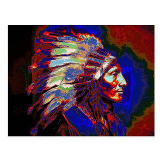 Gráfico americano del jefe indio postales