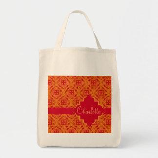 Gráfico anaranjado y rojo del marroquí del bolsa tela para la compra