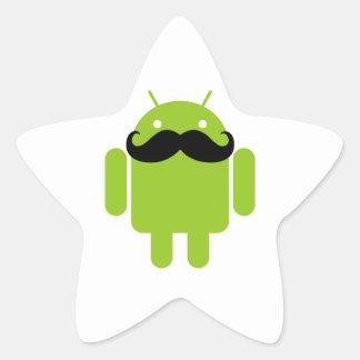 Gráfico androide del bigote del negro del robot pegatina en forma de estrella