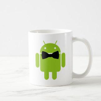 Gráfico androide formal del icono del robot taza básica blanca