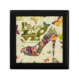 Gráfico Art del amor y de la moda de la paz Caja De Recuerdo