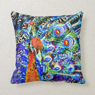 gráfico artístico anaranjado del pavo real y de cojín decorativo