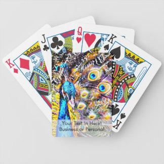 gráfico artístico del pavo real y de las plumas baraja de cartas