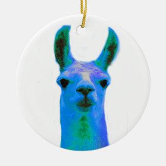 Gráfico azul de la llama adorno navideño redondo de cerámica