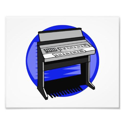 Gráfico azul de la música de fondo del órgano eléc fotografía
