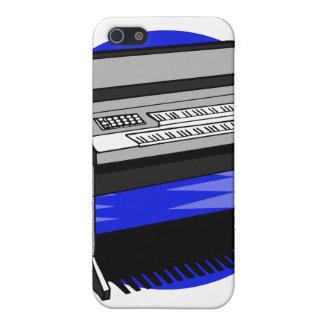 Gráfico azul de la música de fondo del órgano eléc iPhone 5 fundas