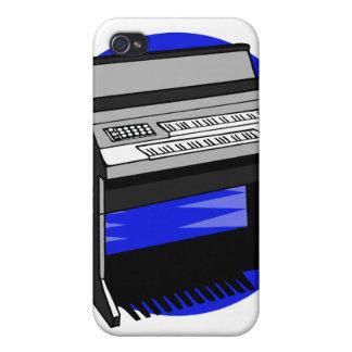 Gráfico azul de la música de fondo del órgano eléc iPhone 4 fundas