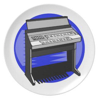 Gráfico azul de la música de fondo del órgano eléc platos para fiestas