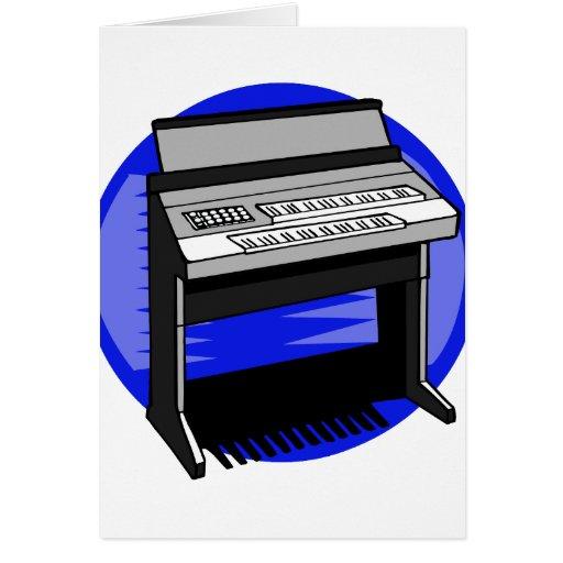 Gráfico azul de la música de fondo del órgano eléc felicitacion