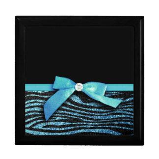 Gráfico azul del arco de la cebra y de la cinta joyero cuadrado grande