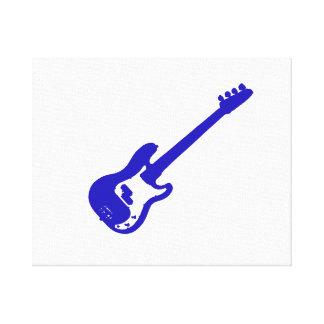 gráfico azul inclinado de la guitarra baja lienzo envuelto para galerias