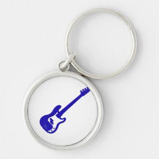 gráfico azul inclinado de la guitarra baja llavero redondo plateado