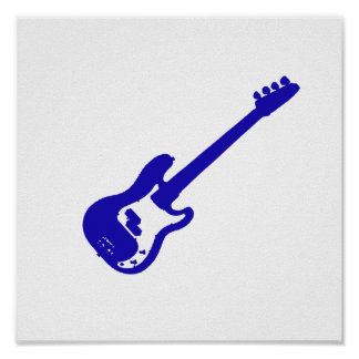 gráfico azul inclinado de la guitarra baja póster