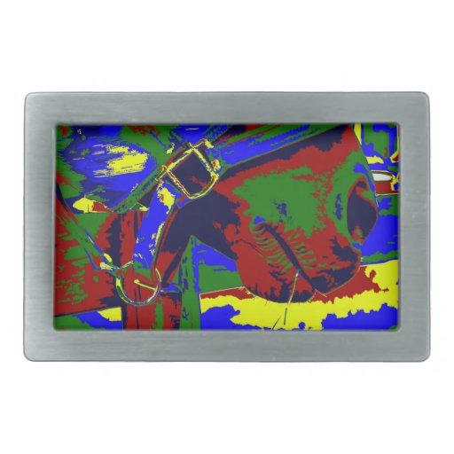 Gráfico azul rojo del bozal del caballo de la hier hebillas de cinturon rectangulares