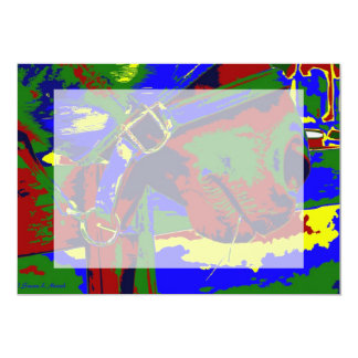 Gráfico azul rojo del bozal del caballo de la invitación 12,7 x 17,8 cm