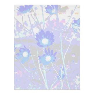 Gráfico azul y blanco de la foto de la flor invert plantillas de membrete