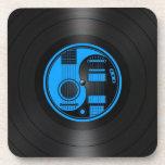 Gráfico azul y negro del vinilo de las guitarras d posavaso