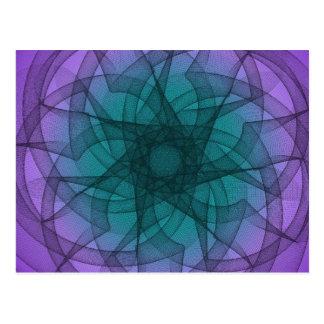 Gráfico azul y púrpura postal