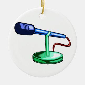 Gráfico azul y verde del pequeño soporte del adorno navideño redondo de cerámica