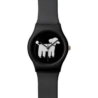 Gráfico blanco del caniche relojes de pulsera
